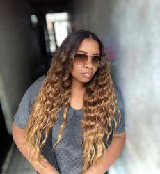 2 Tamanhos Mel Lace wig premium Gina Ondulado